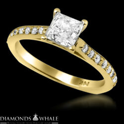 Solitaire With Accent 1.11 Tcw Diamond Enhanced Ring Yellow Gold Princess Si1/f