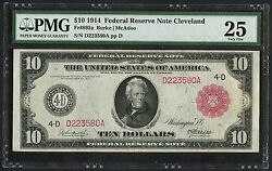Fr895a 10 1914 Frn Cleveland Pmg 25 Vf Only 31 Recorded Ext Rare Wlm3710