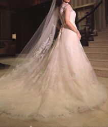 Special Design Vera Wang Luxurious Gown with Double Lace Veil
