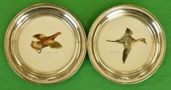 2 Cyril Gorainoff Hand-painted Sterling Rim Coasters For Abercrombie And Fitch