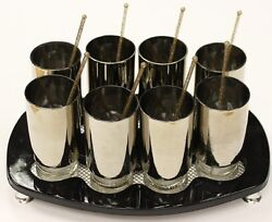 Set Of 8 Cocktail 'silver' Glasses On Black Serving Tray