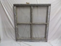 Antique Industrial Window Chicken Wire Factory Privacy Glass 41x37 232-17P