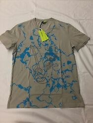 Mens Versace Jeans Vneck Size Xl With Abstract Aqua Design