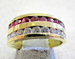 Unisex Ruby And Diamond Ring Band 18k Gold Size 7 For Him Or Her Make Offer