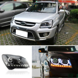Bi-xenon Projector HeadlightWhite LED Light Pipe DRL For Kia Sportage 2007-2013
