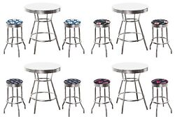Mlb White And Chrome Bar Table Set W/2 Backless Swivel Seat Team Fabric Stools