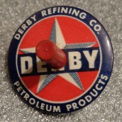 Old Celluloid Spinning Top Advertising Derby Oil Refining