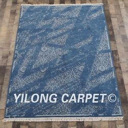 Yilong 5'x7' Blue Handknotted Wool Contemporary Carpet Furniture Rug CQG65S