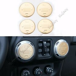 4X Gold Air Conditioner Outlet Vent Cover Trim Sticker for Jeep Wrangler 11-16