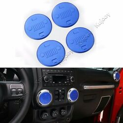 4X Blue Air Conditioner Outlet Vent Cover Trim Sticker for Jeep Wrangler 11-16