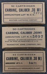 M1 Carbine Ww2 New Replica 50 Round Ammo Box - Set B With Ra Wcc And Ec Labels