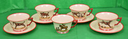 9pc Set Of Frank Vosmansky For Abercrombie And Fitch Cup And Saucer Foxhunt Set