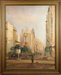 Luis Gowland Moreno Original Oil Painting, Downtown Bueno Aires Fine And Rare