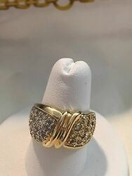 Vintage 14k Yellow Gold 1.20ct White And Yellow Diamonds Cigar Band Ring