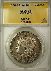 1896-s Morgan Silver Dollar 1 Coin Anacs Au-50 Details Cleaned 16
