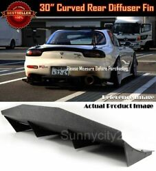 30 X 12 Abs Black Universal Rear Bumper 4 Fins Curved Diffuser Fin For Chevy