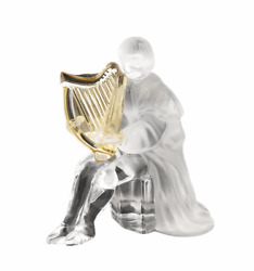 St. Louis Crystal Harp Musician Figurine 4 1/4 Tall New Made In France 650.00