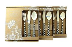 Mackenzie Childs Lot Of Three Set 12 Piece 36 Courtly Check Enameled Flatware