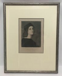 Portrait Of Raphael Sanzio Engraving Uffici Gallery Florence Framed Matted