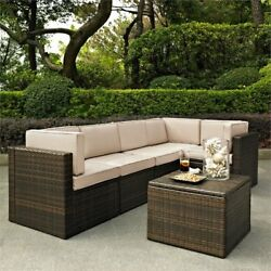 Crosley Palm Harbor 6 Piece Wicker Patio Sectional Set In Brown And Sand