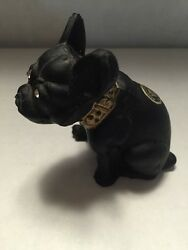 Westmoreland Glass French Bulldog Dog Figurine ~ Black Matte Glass With Crystal
