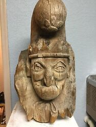 Large 28in Folk Art Hand Carved Punch Cigar Store Countertop Advertising Figure