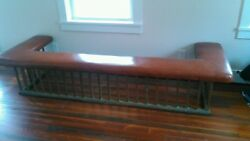 Antique English Brass Club Fender Fireplace Seat Bench Leather Seat 1800's