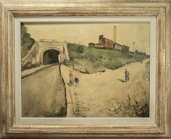 Roger Bertin Oil Painting Train And Tunnel Landscape Beautiful And Rare 1 Of 3