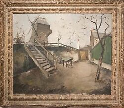 Roger Bertin Oil Painting European Windmill Landscape, Signed And Nice 1 Of 3