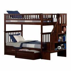 Atlantic Furniture Woodland Twin Over Twin Staircase Storage Bunk Bed