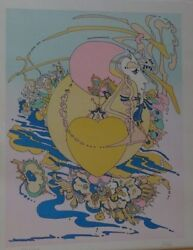 Peter Max 'orange Heart' Hand Signed Numbered Early Print Htf