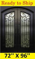 ARCH TOP Front iron door IN SWING with tempered GLASS 62''X96'' DGDA1027