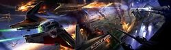 Star Wars Episode Iii Revenge Of The Sith Concept Art Space Battle Coruscant