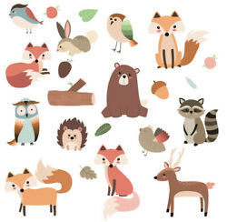 Woodland Forest Animals Nursery Wall Stickers Watercolour