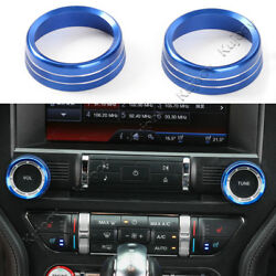 Blue Aluminum Air Conditioner Switch Button Trim Cover for Ford Mustang 15-16