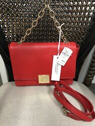 Authentic!!!  Versace Collection Fold-Over Leather Crossbody Bag Red