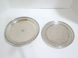 Set Of 2 - 10.5 And 9.5 In Sterling Silver And Co. Antique Openwork Plates