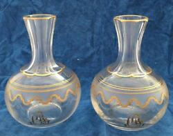 Pair Rare Engraved Etched Decanters French St Louis Crystal Beethoven With Mono