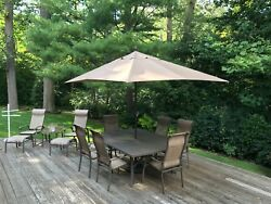 Patio Furniture 17 Piece Set Made By Agio In Mocha Hideaway 84x 60 Table