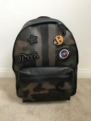$600 NWT COACH Men's Charles PRINTED COATED CANVAS CAMO PATCHES Backpack F59906