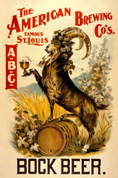 Bock Beer Goat Famous St. Louis American Brewing Vintage Poster Repro Free Sh