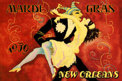 Mardi Gras New Orleans Dance 1939 Carnival Vintage Poster Repro Free S/h In Usa