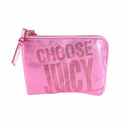 New Juicy Couture Large Glitter Wristlet Bag Pink On Sale