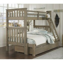 Ne Kids Highlands Harper Twin Over Full Bunk With Trundle In Driftwood