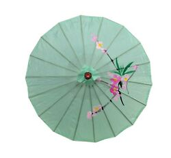Set of 4 Japanese Chinese Umbrella Parasol 32 inches 156-6 Green S-2195x4 $31.04