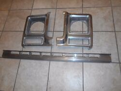 Chevy Gmc Deluxe Headlight Bezels With Lower Trim Oem 1973-1977
