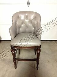 Frontgate Boswell Pewter Leather Barstool Bar 25 Wood Counter Kitchen Stool