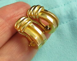 And Co Vintage 1995 Bright Stunning 18k Yellow Gold Atlas Pierced Earrings