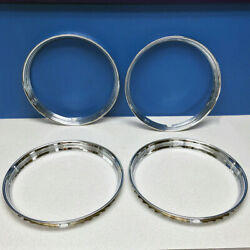 14 Stainless Steel Chrome Hot Rod Ribbed Trim Rings / Beauty Rings New Set Of 4