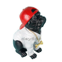 English Bull Terrier Baseball cap RAP Hand Painted Resin Figurine Statue